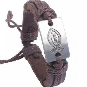 NEW Leather Bracelet- Christian Jesus Fish- Brown